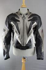Ixs Negro, Gris Y Blanco De Cuero Chaqueta de motorista con extraíble CE armadura 40 pulgadas