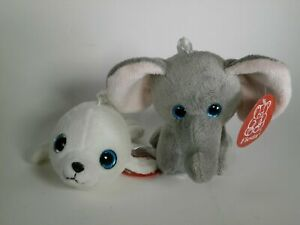 Dumbo Elephant and White Seal Key Chains Plush Stuffed Animal Toy Fiesta New