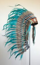 Y34 - PRICE REDUCED Medium Indian Style Turquoise Feather Headdress