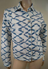 ISABEL MARANT ETOILE Blue White Cotton Stretch Grid Print Denim Jacket FR40 UK12