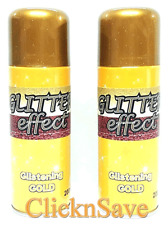 2 x Glitter Effect Gold Aerosol Spray Paint Decorative Creative Crafts Christmas
