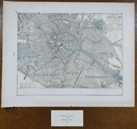 """Vintage 1900 BERLIN GERMANY Map 14""""x11"""" ~ Old Antique Original LICHTENBERG MITTE"""
