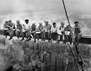Lunch atop a Skyscraper Rockefeller Center New York Poster Wall Art Picture A4 +