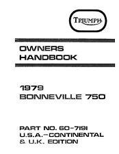 Triumph Owners Manual Book 1979 Bonneville 750
