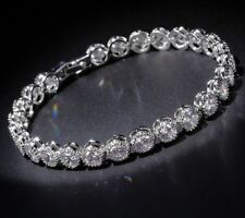 Womens Diamond Bracelet 14K White Gold Finish 6.24 ct 7.25 Inches