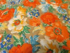 PreQuilted Fabric Vtg 70s tan BRIGHT floral orange blue yellow BTHY half yard