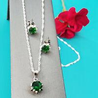 """4pcs Set Sterling Silver 925 Women Jewelry Pendant, earrings, 20"""" chain CZ Stone"""