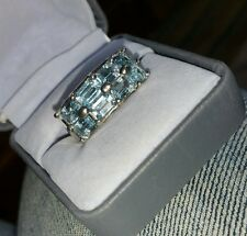 Ross Simons wide Sterling 925 silver 4ct emerald cut Blue Topaz 2 row band Ring