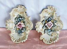 Vintage Large Rococo Porcelain Pair Floral Wall Plaques or Display Bowls