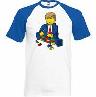 President Trump T-Shirt Mens Funny Lego Wall Building His