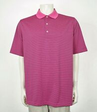 Donald Ross Hot Pink Striped Casual Tech Golf Polo Shirt Mens Large