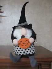 NWT Halloween Gnome Witch Wizard w/Pumpkin Shelf Sitter, Adorable!