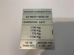NOS Lamborghini Diablo GT Manufacturers ID Data Plate