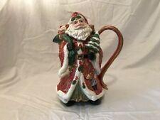 Fitz & Floyd Santa Claus w/Bag of Toys & Tree, Large Tea Pot Pitcher Christmas