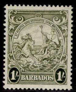 BARBADOS GVI SG255, 1s olive-green, M MINT. Cat £16.