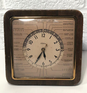 Vintage 1930's Telechron World Time Clock 8F03 Globetrotter Walnut Case Runs