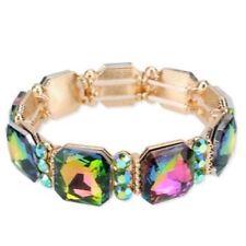 Irridescent Green Crystal Stretch Bracelet