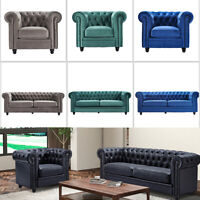 Classic Chesterfield Couch Sofa Velvet Leather Upholstered Armchair Living Room