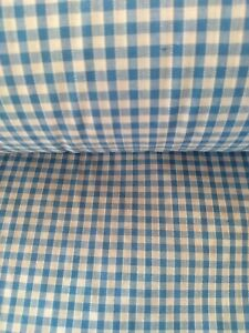 """BABY BLUE, LIGHT BLUE, GINGHAM CHECK 1/8"""" cotton mix fabric sold/PER METRE/"""