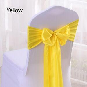 Satin Bow Chair Wedding Banquet Chair Sashes For Wedding Decoration 25pcs