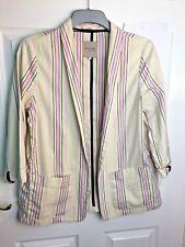 River Island Candy Stripe Jacket Blazer Summer Yellow Pink Size 12 Festival