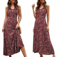 Ladys Floral Spaghetti Strap Cami Dress Summer Boho Beach Party Maxi Sundress AU