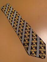 "vtg Gianni Versace Gold Baroque Medusa Head Silk Tie Italy  Scroll 59"" 3.75"""