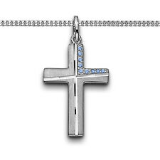 Zirkonia Kreuz blau Anhänger Junge Kommunion Firmung Taufe Kette Silber 925