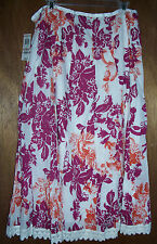 NEW Style & Co Tahiti I Skirt Size 12 Ocean Front Floral White Pink Orange