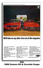 24x36 1969 Chevrolet Camaro SS RS The Hugger Corvette Stingray Ad Poster Chevy