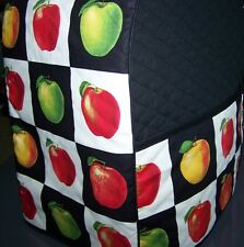 Apple Blocks  on Black Quilted Fabric Cover for KitchenAid Mixer NEW