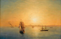 """Perfect Oil painting Seascape Russian shipping at sunset & sail boats canvas 36"""""""