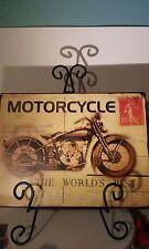 MOTORCYCLE WORLD'S BEST REPAIR & SALES POSTCARD METAL TIN SIGN MAN CAVE GARAGE