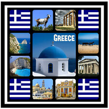 GREECE - SOUVENIR NOVELTY SQUARE FRIDGE MAGNET - SIGHTS / GIFTS / FLAGS / NEW