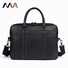 Black Genuine Cowhide Leather Mens Satchel  briefcase shoulder bag FREE DELIVERY