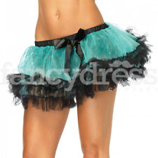 Black Green Tutu Petticoat Skirt Fancy Dress Hen Night Moulin Rouge Burlesque