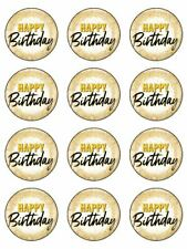 Happy birthday gold birthday edible cupcake Toppers Wafer or Icing x 12
