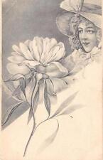 CPA ILLUSTRATEUR FEMME BOURGEOISE ANNEE 1900 ART NOUVEAU (dos non divisé)