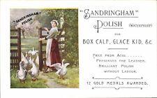 Advertising. Sandringham Leather Polish. Maid & Geese. Box Calf, Glace Kid &c.