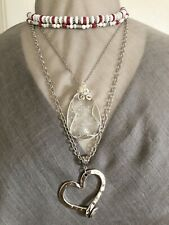 Necklace 3 Pc Set Agate Teardrop & Nail Heart Red White OOAK Artisan USA 1657