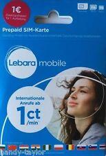 LEBARA Prepaid SIM-Karte 1 EUR/ ab 1Cent Ausland/ Flats / Frei-Minuten D1 Netz