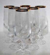 6 ältere Kristall Gläser Champagner / Sektglas m. Goldrand Böhmische Handarbeit