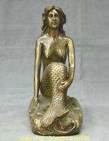 "10 ""Vieux Bronze Chinois Feng Shui Sirène Mer-demoiselle statue"