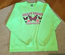 Great Smoky Mountains Sweatshirt Lime Green Bright Graphics Butterflies