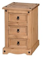 Corona 3 Drawer Bedside Table Chest Cabinet Solid Pine by Mercers Furniture®