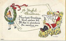 Org Vintage PC- Santa Claus- A Joyful Christmas- Pipe- List of Good Boys & Girls