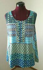 Skye's The Limit Ladies Size L Geometric Print w/Zipper Sleeveless Stretch Top
