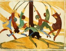 The Giant Stride : Ethel Spowers : Circa 1933 : linocut : Art Print
