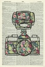 ORIGINAL Floral Camera Art Print - Anatomy Vintage Dictionary Page Print 427KLD