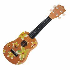 NEW Sanchez Soprano Hawaiian Floral Ukulele 4 String Beginner Kids Uke (Yellow)